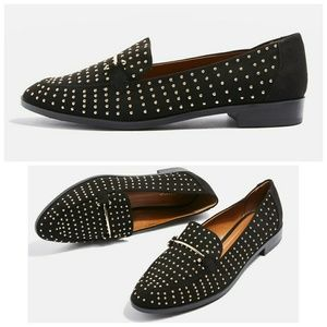 Gold studded loafers